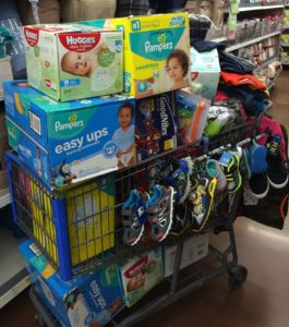 shopping cart full of holiday gifts